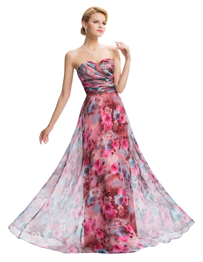 Strapless Chiffon Long Gown Evening Party Dress