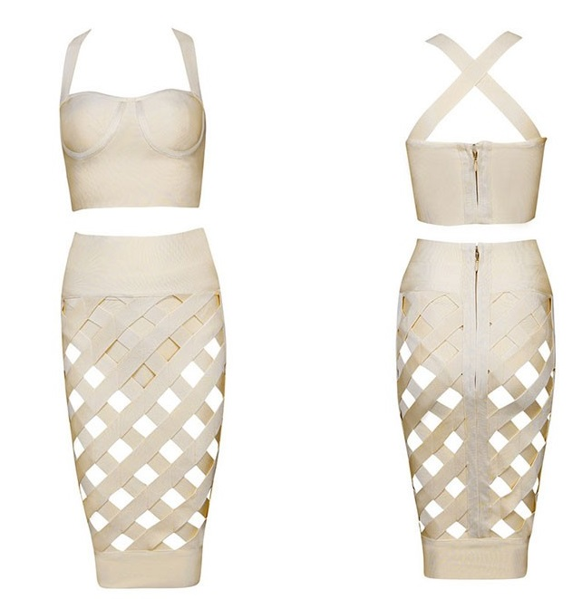 SAMPLE::sexy 3 piece bodycon bandage party dress
